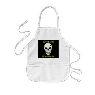 Skull Green Graveyard Shift Kids Halloween Apron