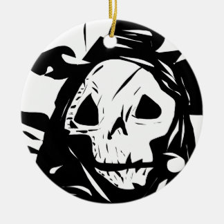 Skull Grim Reaper Creepy Graphic Ceramic Ornament