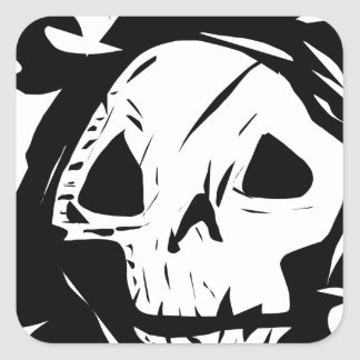 Skull Grim Reaper Creepy Graphic Square Sticker