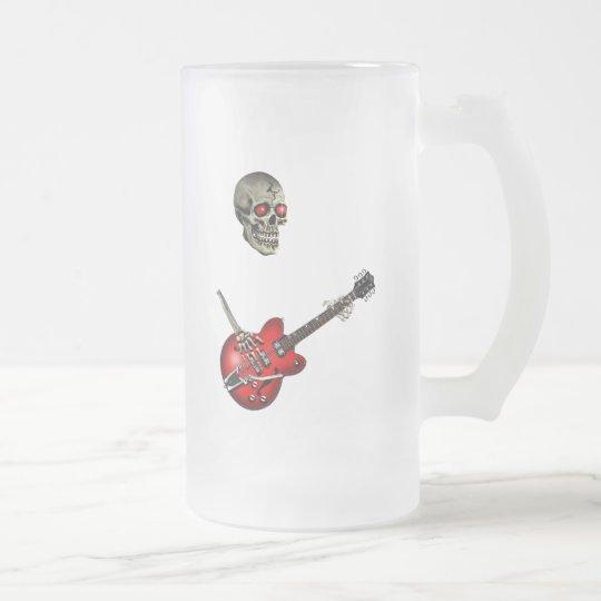 Skull Guitar Player Frosted Glass Beer Mug