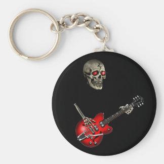 Skull Guitar Player Basic Round Button Keychain