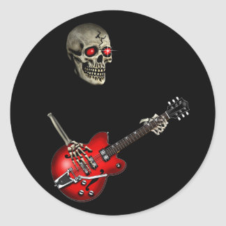 Skull Guitar Player Classic Round Sticker