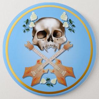 Skull-Guitar-White Rose Button