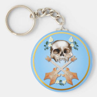 Skull-Guitar-White Rose Keychain