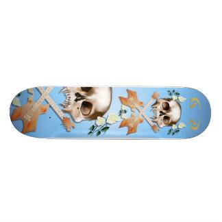 Skull-Guitar-White Rose Skateboard