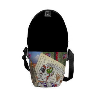 Skull, Gun and Flags Bag Courier Bags
