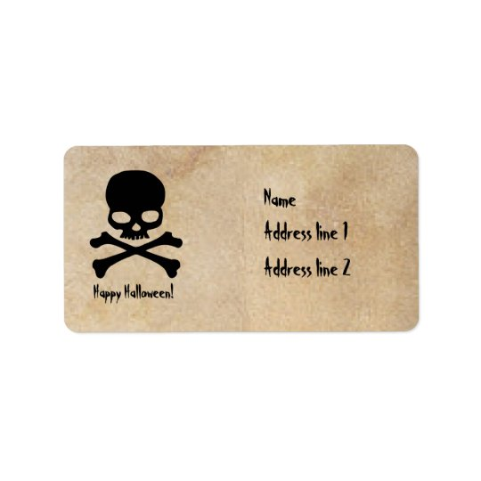 Skull Halloween Parchment Address Labels