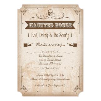 Skull Haunted House Halloween Party Invitations