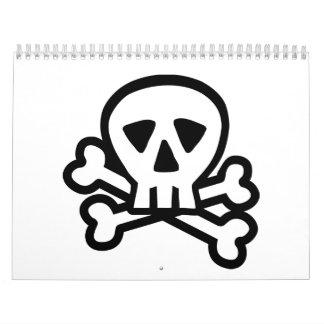 Skull head bones calendar