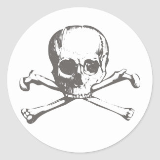 Skull head classic round sticker