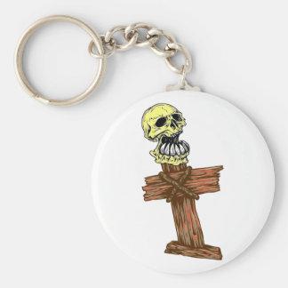 Skull head cross skull CROSSes Keychain