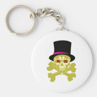 Skull head cylinder hat skull with top has keychain