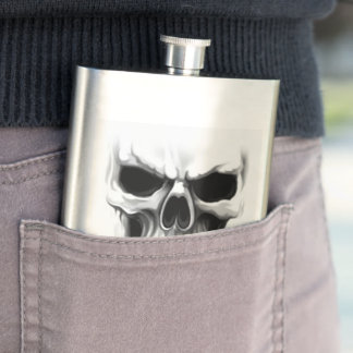 skull head hip flask