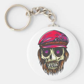Skull head of hair cap skull has hair keychain
