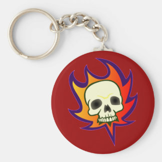 Skull head skull flames of flames keychain