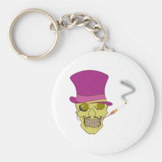 Skull head skull hat cylinder has more topper keychain