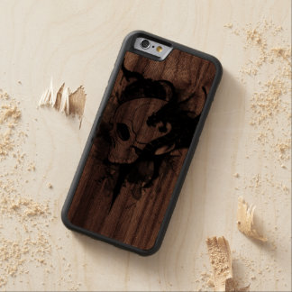 skull head with dragon tattoo carved walnut iPhone 6 bumper case