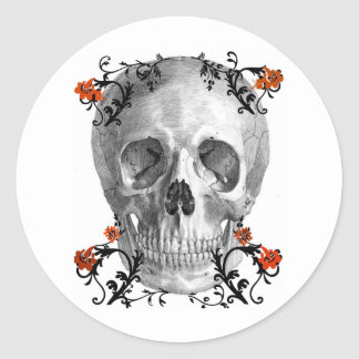 SKULL HEAD WITH VINES VINTAGE AND FLORAL PRINT CLASSIC ROUND STICKER
