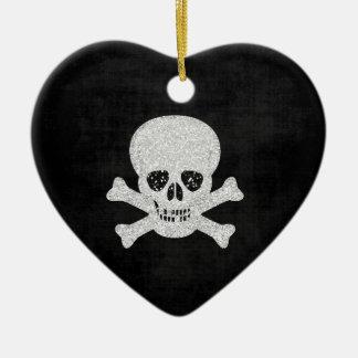 Skull heart ceramic ornament