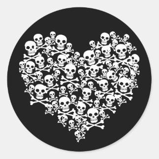 Skull Heart Classic Round Sticker