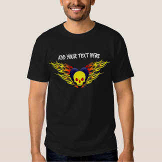 Skull Heart & Flames, ADD YOUR TEXT HERE T Shirt