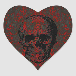 Skull Heart Shaped Sticker
