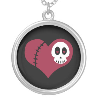 Skull Heart Silver Plated Necklace
