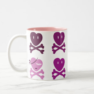 Skull Heart Two-Tone Coffee Mug