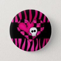 Skull heart zebra pattern pinback button
