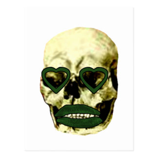 Skull Hearts Green Kiss The MUSEUM Zazzle Gifts Post Card