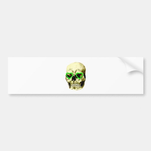 Skull Hearts Green The MUSEUM Zazzle Gifts Car Bumper Sticker
