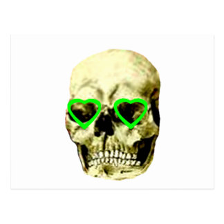 Skull Hearts Green The MUSEUM Zazzle Gifts Post Card