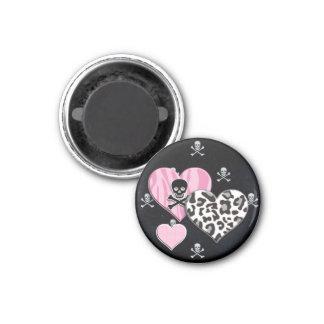 Skull & Hearts Round Magnet