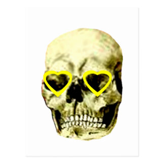 Skull Hearts Yellow The MUSEUM Zazzle Gifts Postcard