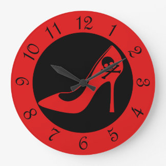 Skull High Heel SHoe Large Clock