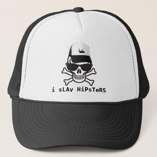 b9fa6442aadce3 Skull-hipster, i sLAy HiPsTeRS Trucker Hat | Zazzle.com