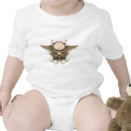 Skull ~ Horned Tattoo Skull Fantasy Art Baby Bodysuit