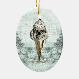 Skull ice cream cone illustration ceramic ornament