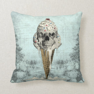 Skull ice cream cone illustration throw pillow