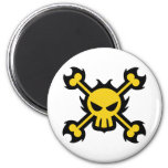 Skull Icon Magnet in Yellow Refrigerator Magnets