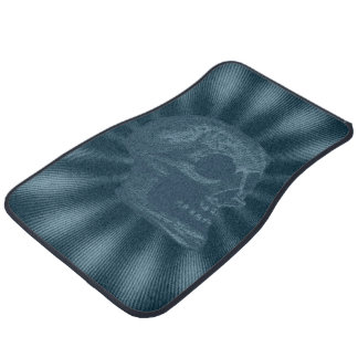 Skull- Illustrated Skull! Ocean Blue Car Floor Mat