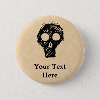Skull illustration motif. pinback button