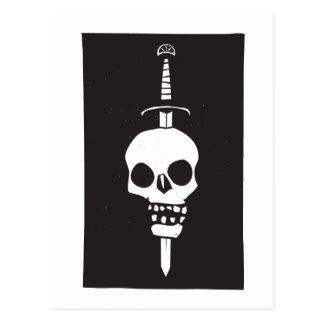 Skull Impaled on a Sword Dark Postcard