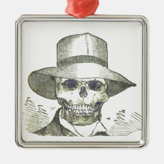 Skull in a Panama Hat Christmas Tree Ornament