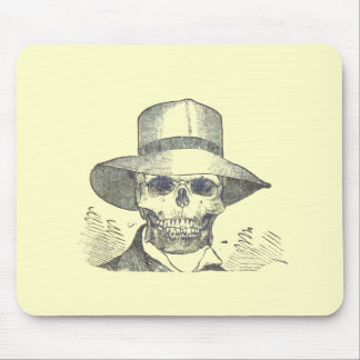 Skull in a Panama Hat Mousepads