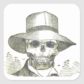 Skull in a Panama Hat Square Stickers
