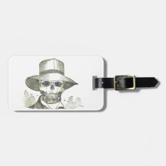 Skull in a Panama Hat Tags For Luggage