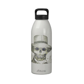 Skull in a Panama Hat Water Bottle