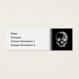 Skull in Black and White. Mini Business Card