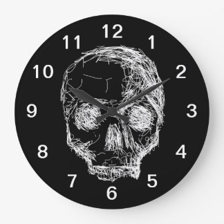 Skull in Black and White. Wall Clocks